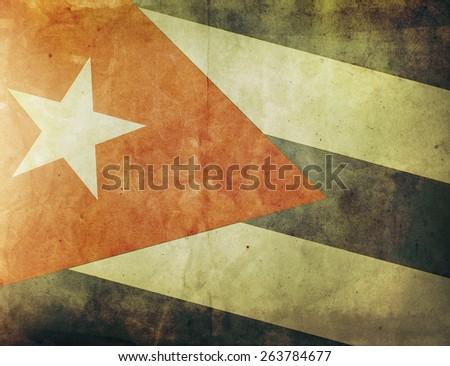 Vintage Flag - Cuba - stock photo