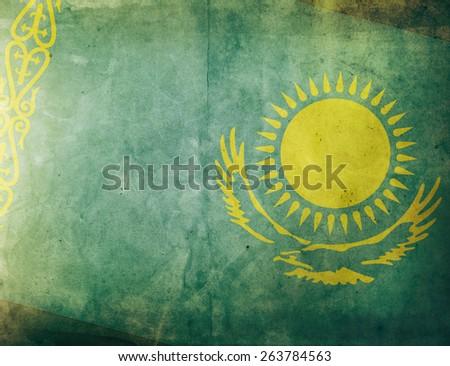 Vintage Flag - Kazakhstan - stock photo