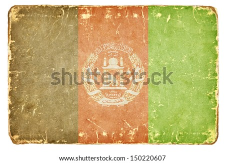 Vintage flag of Afghanistan. Background. - stock photo