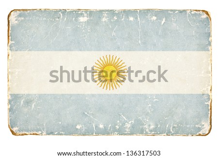 Vintage flag of Argentina. - stock photo
