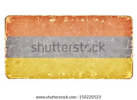 Vintage flag of Armenia. Background. - stock photo