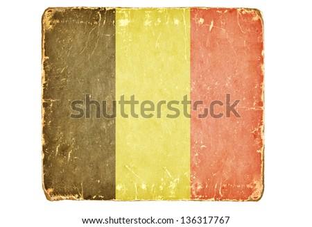 Vintage Flag of Belgium. - stock photo