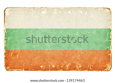 Vintage Flag of Bulgaria. - stock photo