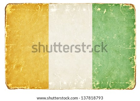 Vintage flag of Cote d'Ivoire. - stock photo