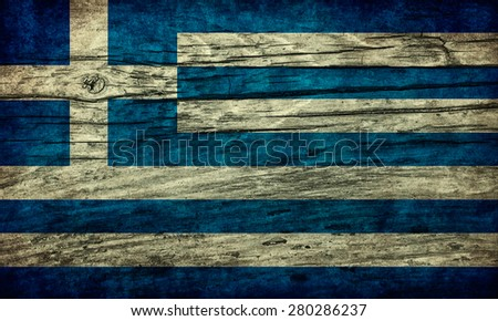 Vintage flag of Greece on wooden surface - stock photo