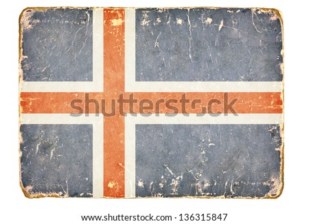 Vintage Flag of Iceland - stock photo