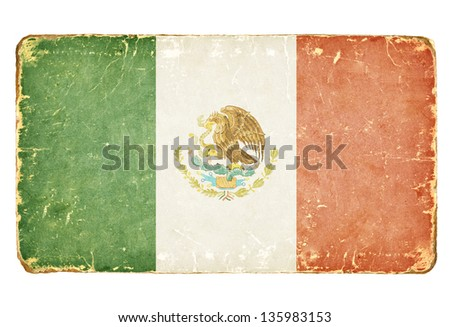 Vintage Flag of Mexico. - stock photo
