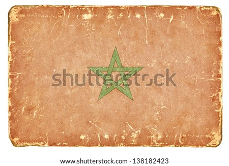 Vintage Flag of Morocco. - stock photo