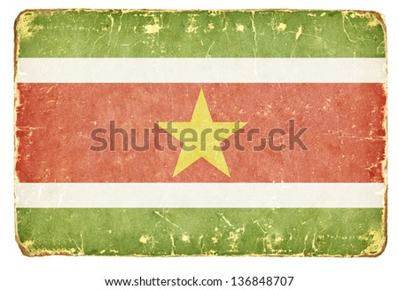 Vintage Flag of Suriname. - stock photo