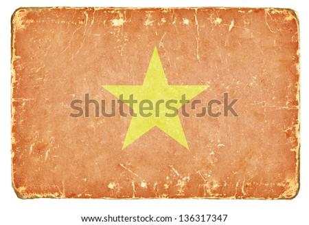 Vintage flag of Vietnam. - stock photo