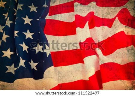Vintage flag USA - stock photo