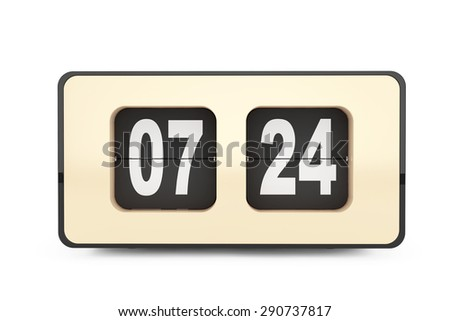 Vintage Flip Clock on a white background. 3d rendering - stock photo