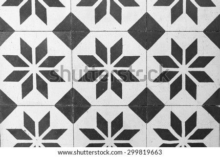 Vintage Floor Tile in Black and White - stock photo