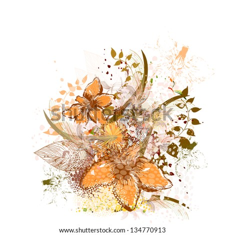 Vintage floral abstraction. Raster - stock photo