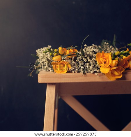 Vintage floral background with yellow flowers - stock photo