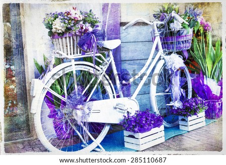 vintage floral bike - artistic picture - stock photo