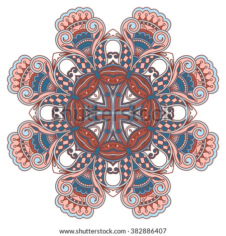 Vintage floral decorative element for design, print, embroidery. - stock photo