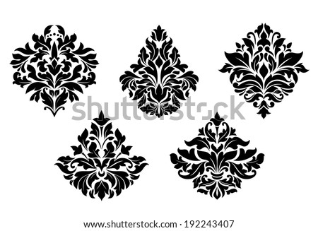 Vintage floral design elements in damask style. Vector version also available in gallery - stock photo