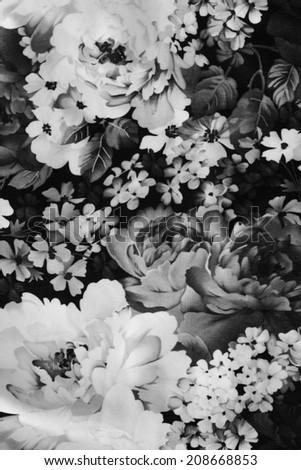 vintage floral fabric,black&white. - stock photo