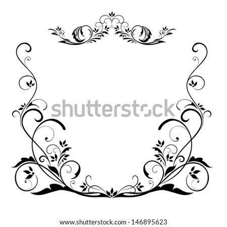 Vintage floral heading. Raster copy of vector image - stock photo