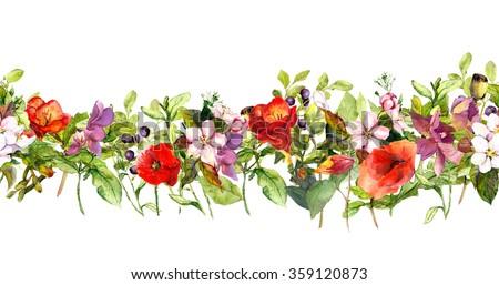 Vintage floral horizontal border. Watercolor meadow flowers, grass, herbs. Seamless stripe - stock photo