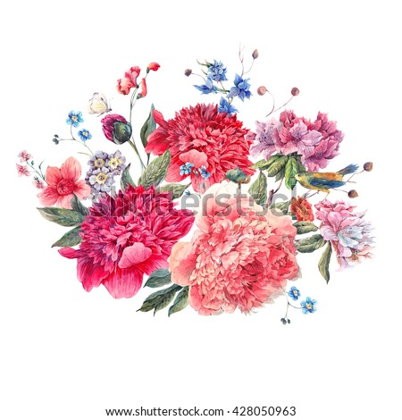 Vintage floral watercolor bouquet of peonies, bird and wild flowers, Watercolor botanical natural peonies Illustration on white. Summer floral peonies greeting card - stock photo