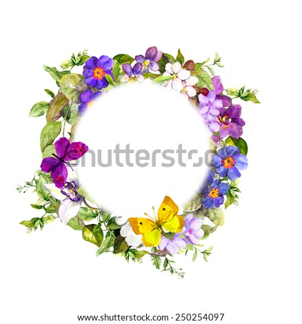 Vintage floral wreath - meadow flowers, wild grass and spring butterflies. Watercolor  - stock photo