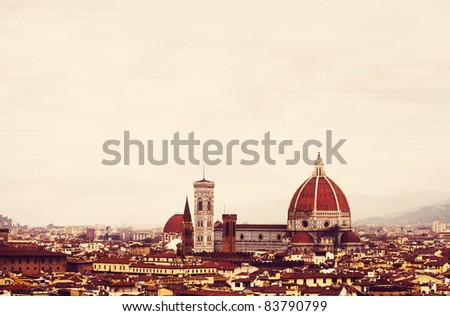 Vintage Florence skyline with the famous Cathedral Santa Maria del Fiore. Italy, - stock photo