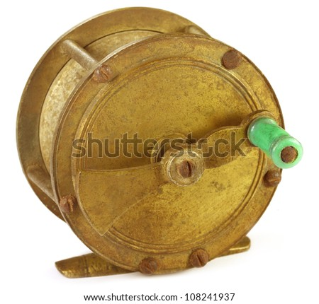 Vintage fly fishing gear over white background - stock photo