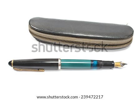 Vintage fountain pen and  case isolated on white - stock photo