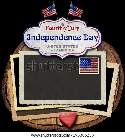 Vintage Fourth of July Independence Day / Vintage background with aged photo frames, postage stamp, US flags, label with phrase: Fourth of July Independence Day - United States of America  - stock photo
