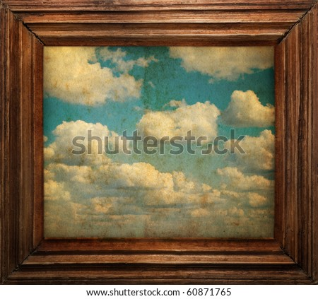 vintage frame on old sky - stock photo