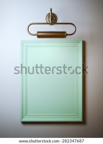 Vintage frame with lamp - stock photo