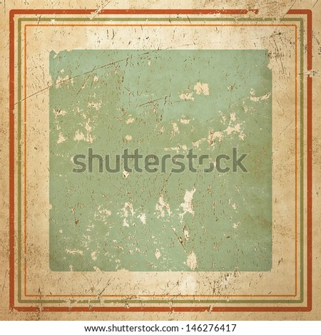 Vintage framed abstract background in pastel Cuban colors, grunge painted metal texture - stock photo
