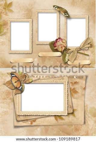 Vintage frames set. Family album - stock photo