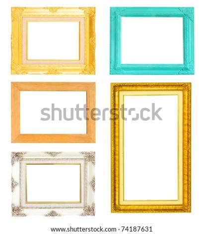 vintage frames set isolated on white background - stock photo