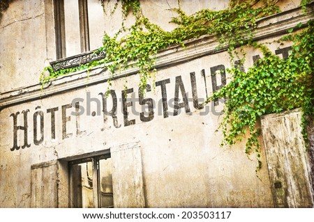 Vintage french hotel facade - stock photo