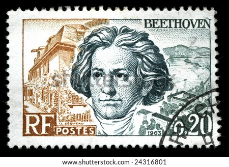 vintage french stamp depicting Ludwig van Beethoven a famous classical music composer and virtuoso pianist - stock photo