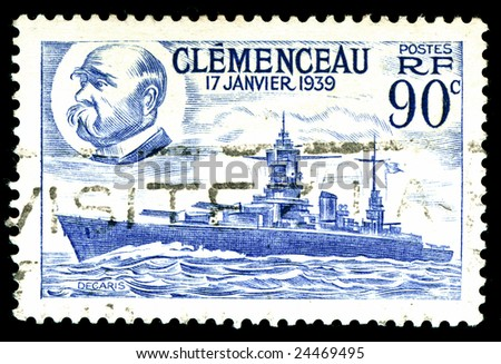 vintage french Stamp depicting the battleship Clemenceau launched 17th January 1939 - stock photo