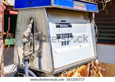 Vintage Fuel Dispenser, selective focus point. - stock photo