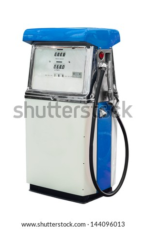 Vintage fuel pump isolated on white background - stock photo