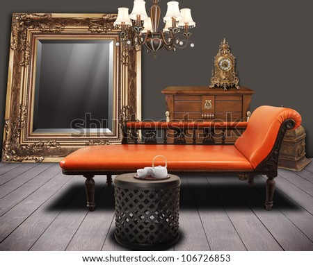 vintage furniture decorated in living-room - stock photo
