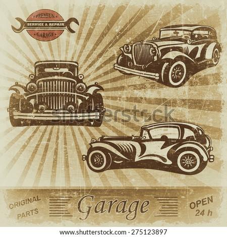 Vintage garage retro banner. - stock photo