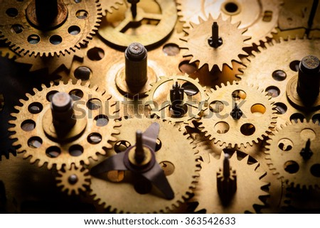Vintage gears and cogs from old mechanism macro - stock photo