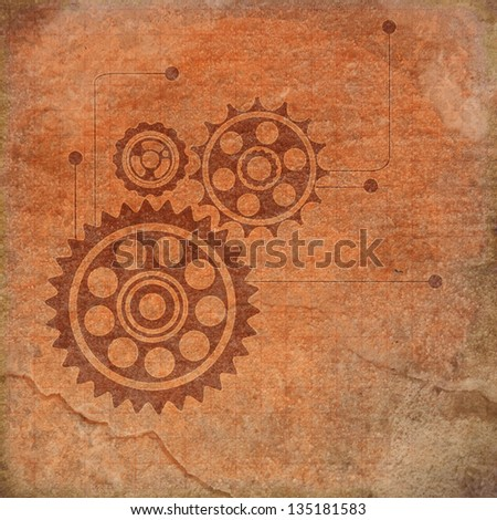 Vintage gears background - stock photo