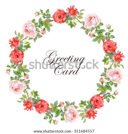 Vintage Gentle Spring Watercolor Greeting Card with Blooming Flowers with Place for Your Text. Roses, Wildflowers. - stock photo