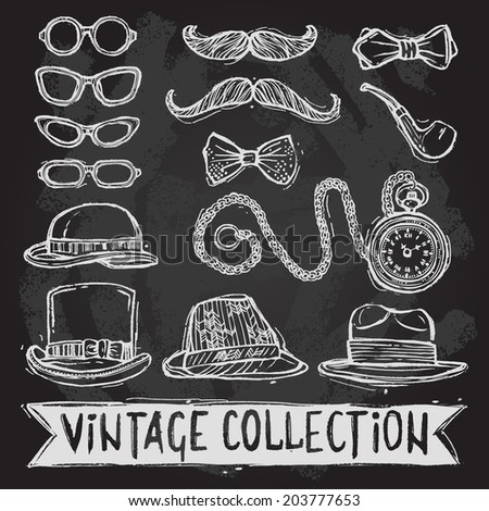 Vintage gentleman set of hats glasses mustaches and bow tie decorative elements isolated  illustration - stock photo