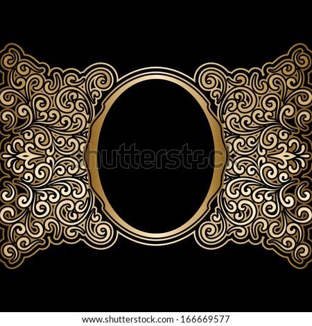 Vintage gold background, antique frame on black, raster illustration  - stock photo