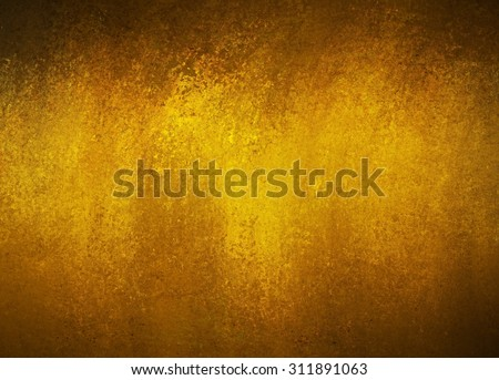 vintage gold background texture with dark black vignette border, old luxury background with shiny flecks of gold paint, yellow background - stock photo
