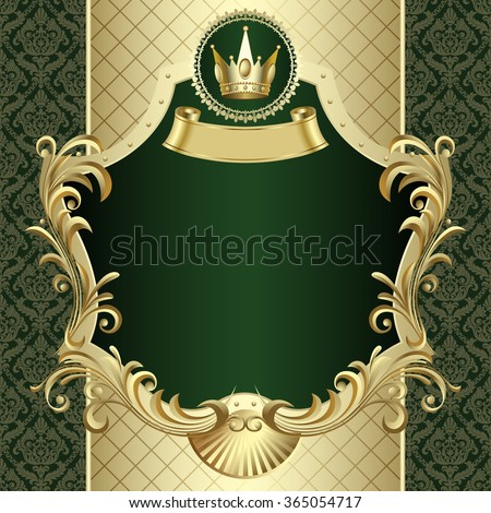 Vintage gold banner with a crown on dark green baroque ornamental background - stock photo